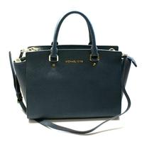 Michael KorsSelma Genuine Leather Large Satchel/ Shoulder Bag Navy Blue