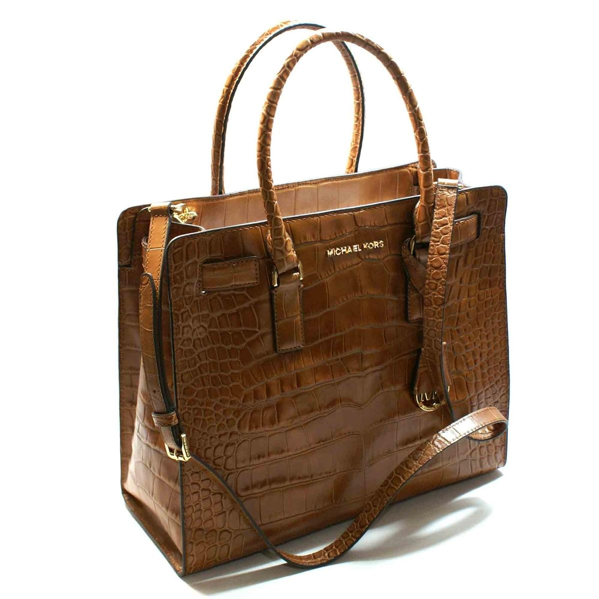 Michael Kors Dillon Large Embossed Leather Tote Shoulder Bag Walnut 30h4gait3e Michael Kors