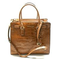 Michael KorsDillon Large Embossed Leather Tote/ Shoulder Bag Walnut