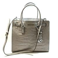 Michael KorsDillon Large Embossed Leather Tote/ Shoulder Bag Pearl Ash Grey