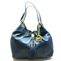 Michael KorsCamden Large Drawstring Leather Shoulder Tote Bag Navy