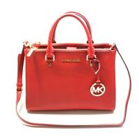 Michael KorsSutton Medium Satchel Leather Bag/ Shoulder Chili Red