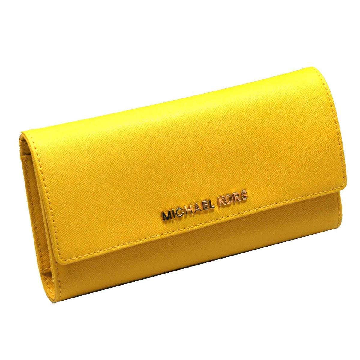 michael kors jet set travel leather checkbook wallet clutch sun 32t4gtve4l michael kors. Black Bedroom Furniture Sets. Home Design Ideas