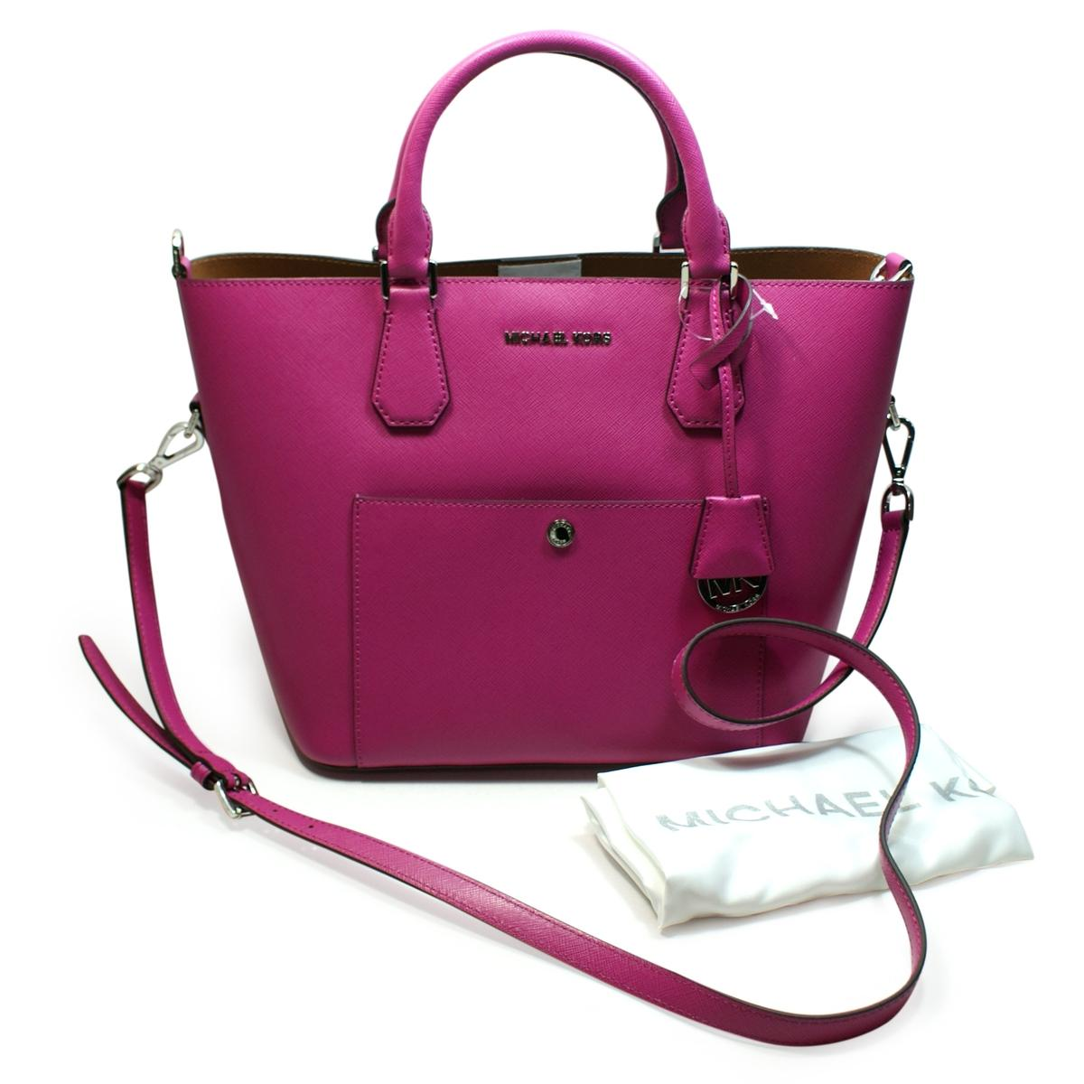 132797a37af8ea Michael Kors Greenwich Leather Grab Bag/ Crossbody Bag Fuschia ...