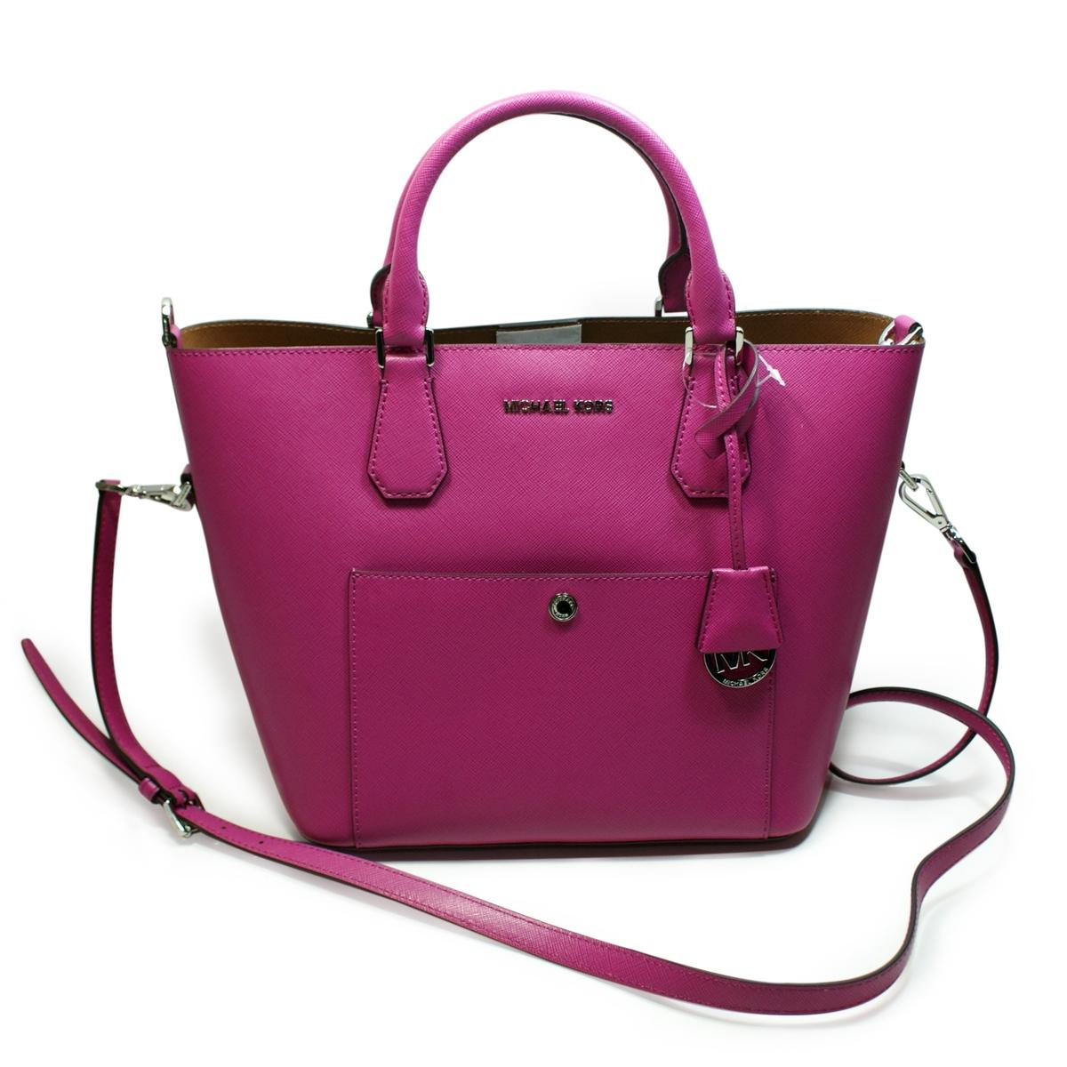 8b5f8b43cbd529 Michael Kors Greenwich Leather Grab Bag/ Crossbody Bag Fuschia ...