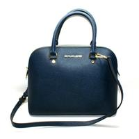 Michael KorsCindy Large Dome Leather Satchel/ Crossbody Bag Navy