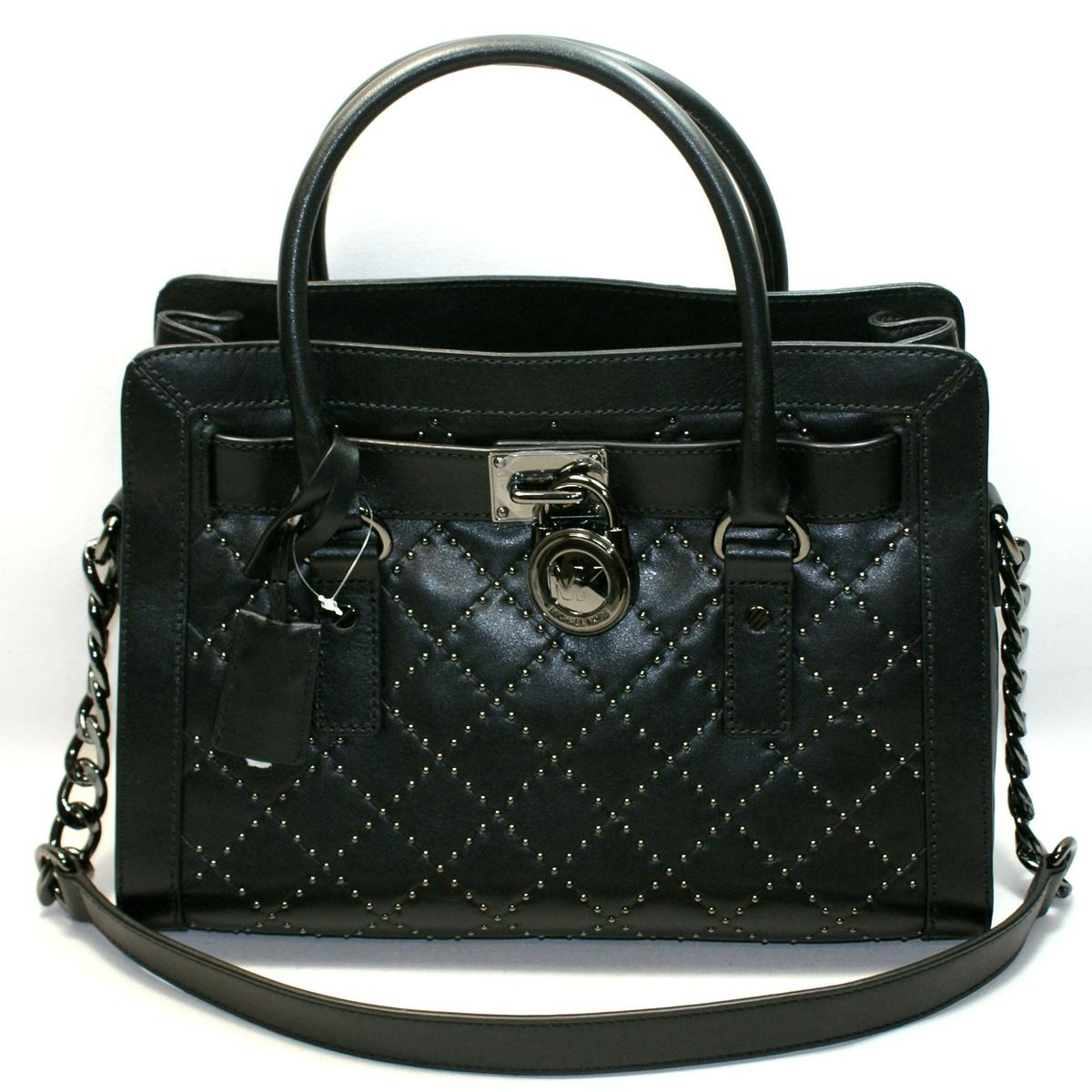 d56ca0e2e53d3f Home · Michael Kors · Hamilton Microstud Genuine Leather Quilted East West  Satchel/ Shoulder Bag Black. CLICK THUMBNAIL TO ZOOM. Found In: Handbags