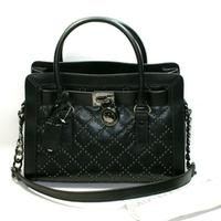 Michael KorsHamilton Microstud Genuine Leather Quilted East West Satchel/ Shoulder Bag Black