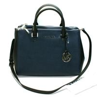 Michael KorsSutton Medium Satchel Leather Bag/ Shoulder Navy/ Black