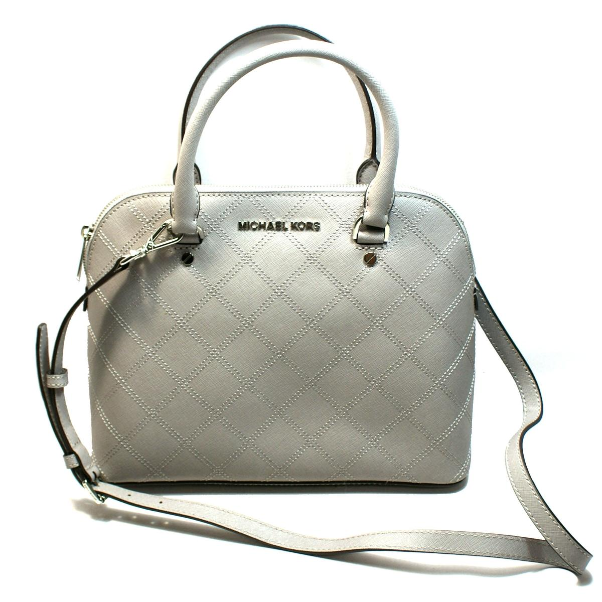 Home Michael Kors Cindy Medium Dome Leather Satchel Crossbody Bag Pearl Grey