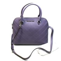 Michael KorsCindy Medium Dome Leather Satchel/ Crossbody Bag Wisteria