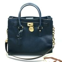 Michael KorsHamilton Large Genuine Leather Tote Navy Blue