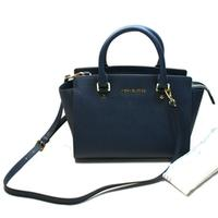 Michael KorsMedium Selma Leather Satchel/ Shoulder Bag Navy Blue