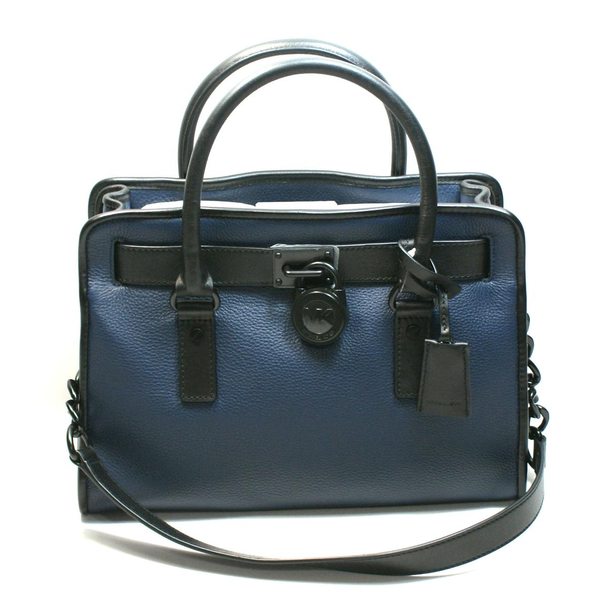 39c68e6665a0 Home · Michael Kors · Hamilton French Binding Genuine Leather East West  Satchel/ Shoulder Bag Navy. CLICK THUMBNAIL TO ZOOM. Found ...