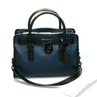 Michael KorsHamilton French Binding Genuine Leather East West Satchel/ Shoulder Bag Navy