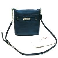 CoachMetallic Leather Swingpack/ Crossbody Bag Metallic Blue