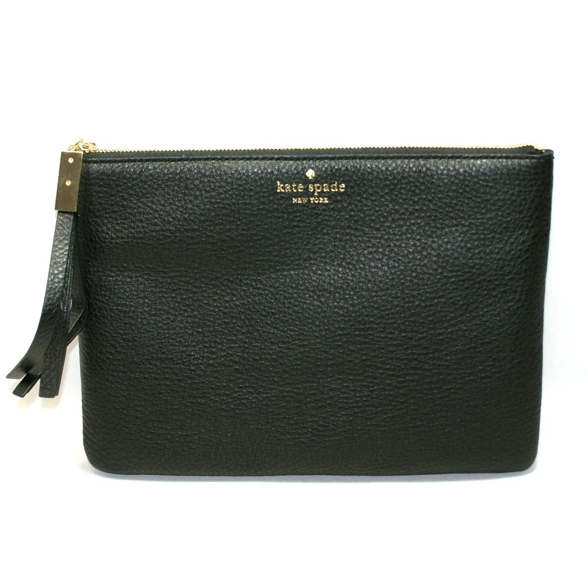 Kate Spade Gia Grey Street Black Leather Flat Pouch