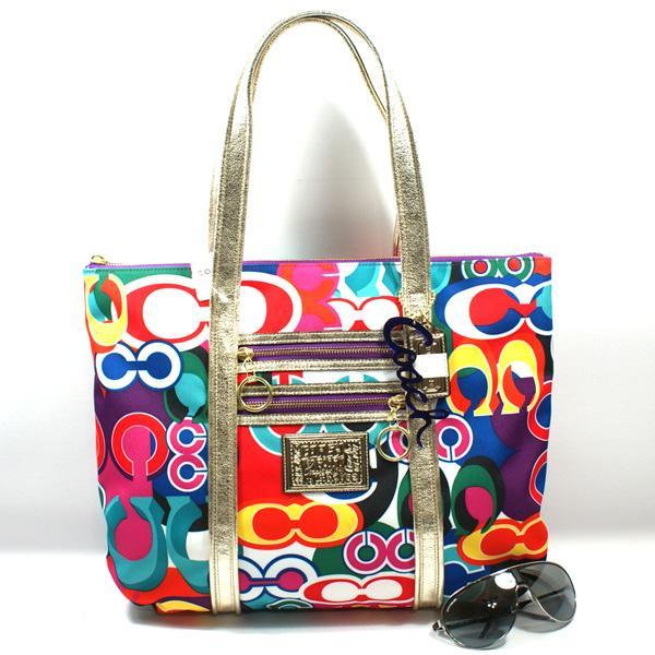 Coach Poppy Pop Signature Glam Tote Multi Color 13839