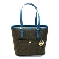 Michael KorsJet Set Medium Snap Pocket Tote Brown/ Steel Blue
