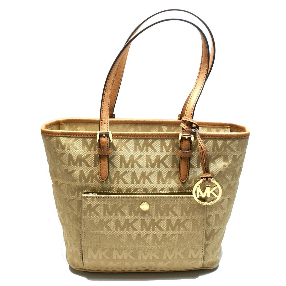 72673adca3f5 michael kors bag camel handbag jet set large signature travel tote vanilla