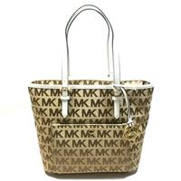 Michael KorsJet Set Medium Snap Pocket Tote Leather White