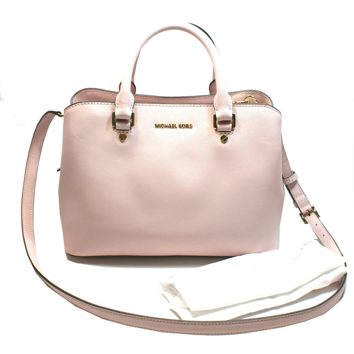 Michael Kors Savannah Medium Satchel Leather Crossbody Bag