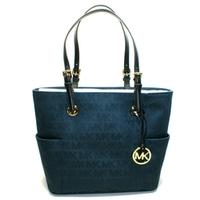 Michael KorsJet Set East West MK Signature Jacquard Tote Navy