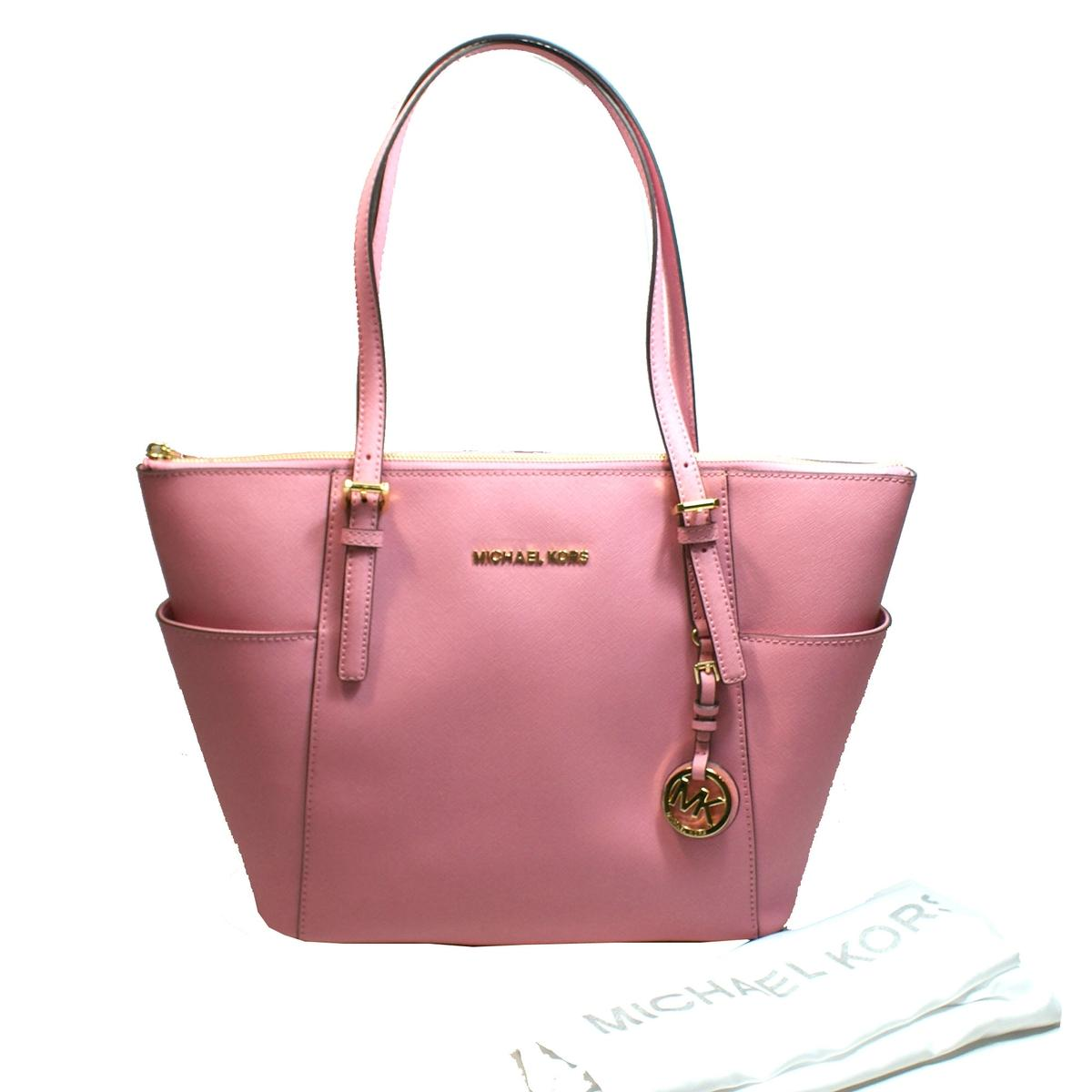7f8945e9410441 Michael Kors Jet Set East/West Genuine Leather Tote Bag Misty Rose ...