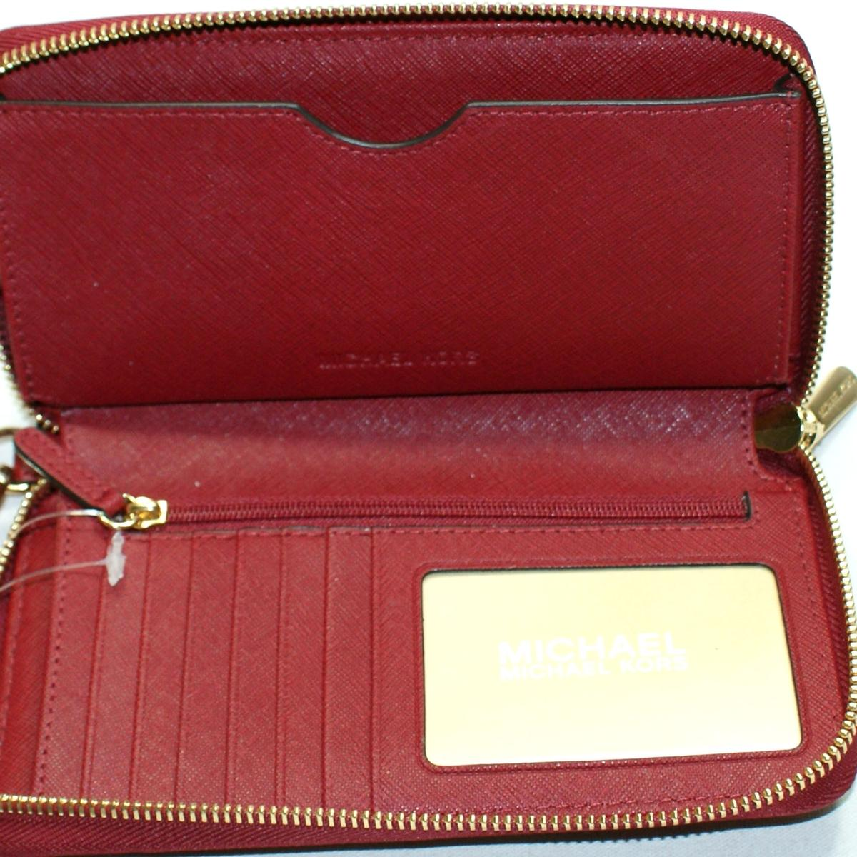 dfd297a1bb07 ... Home · Michael Kors · Jet Set Travel Flat Phone Case Leather Wallet  Clutch Wristlet Cherry ...