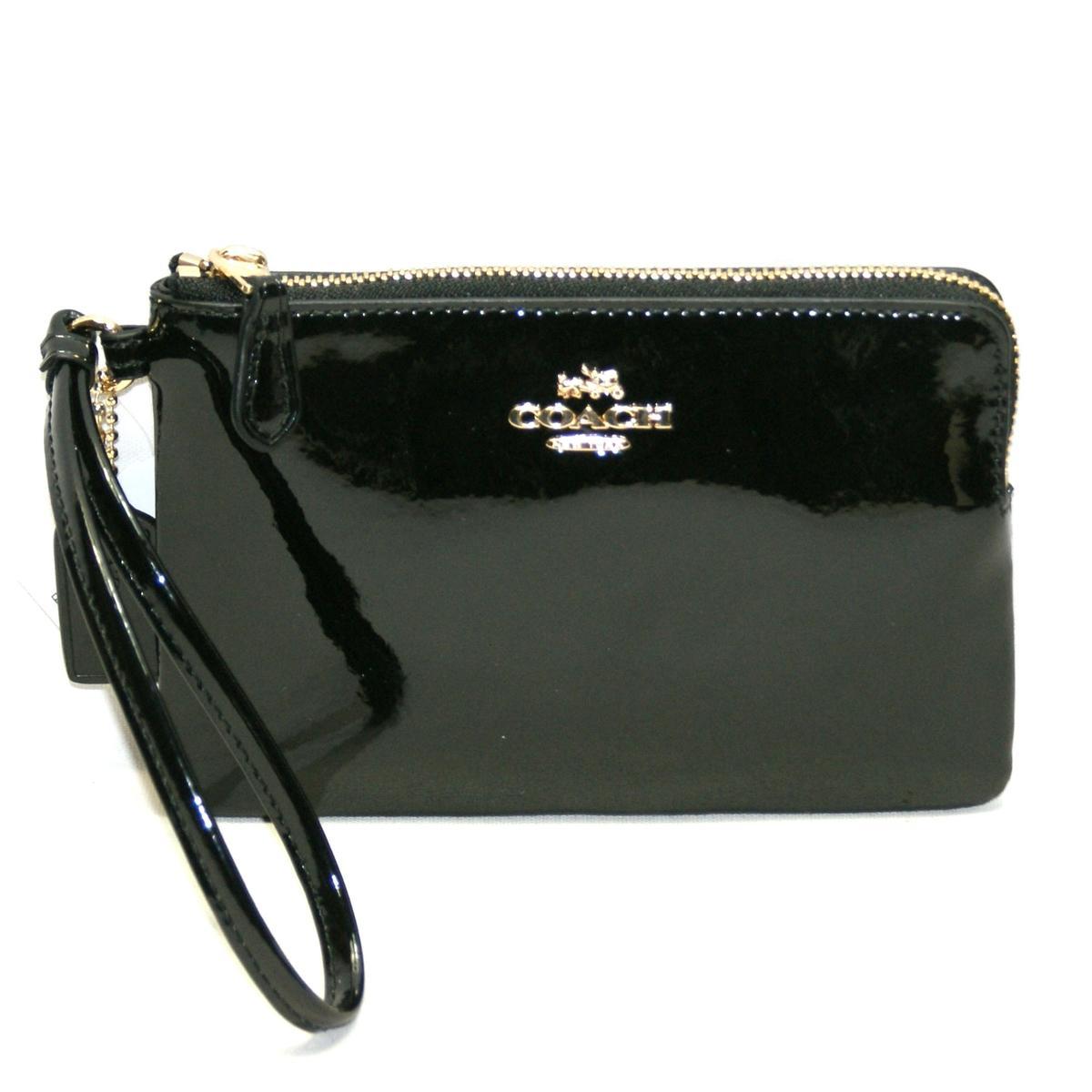 1c4baf67145c7 ... where can i buy coach corner zip patent leather black wristlet 55739  coach 55739 99de7 a1dbe