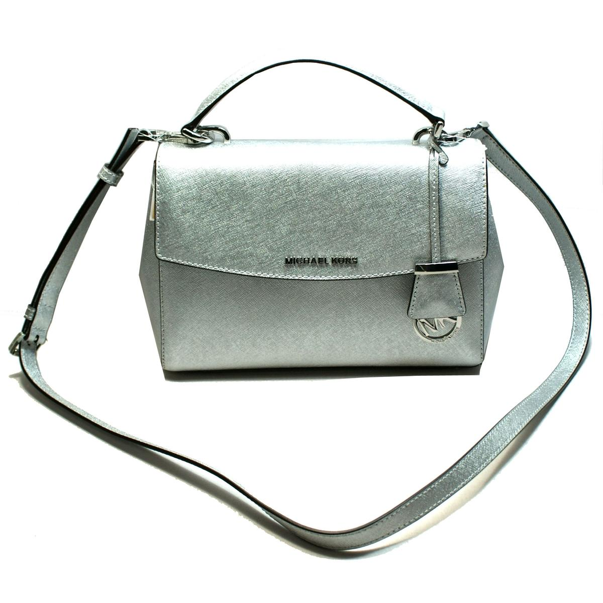f38919604305b3 Home · Michael Kors · Ava Small Satchel Leather Crossbody Bag Silver. CLICK  THUMBNAIL TO ZOOM. Found ...