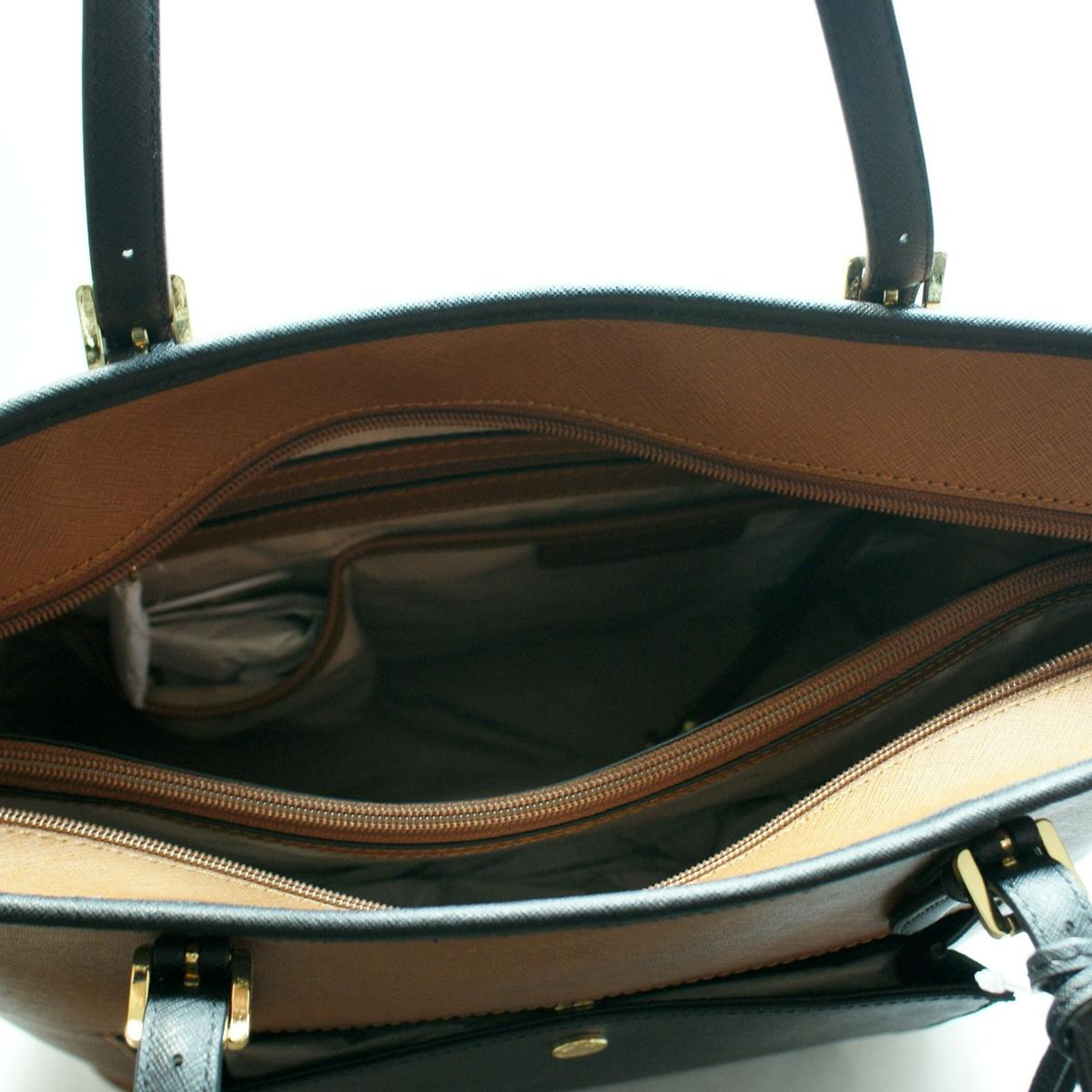 ec0222cbe58d ... Jet Set Large Snap Pocket Tote Leather Luggage/ Black. CLICK THUMBNAIL  TO ZOOM. Found ...