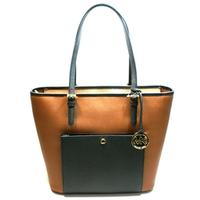 Michael KorsJet Set Large Snap Pocket Tote Leather Luggage/ Black