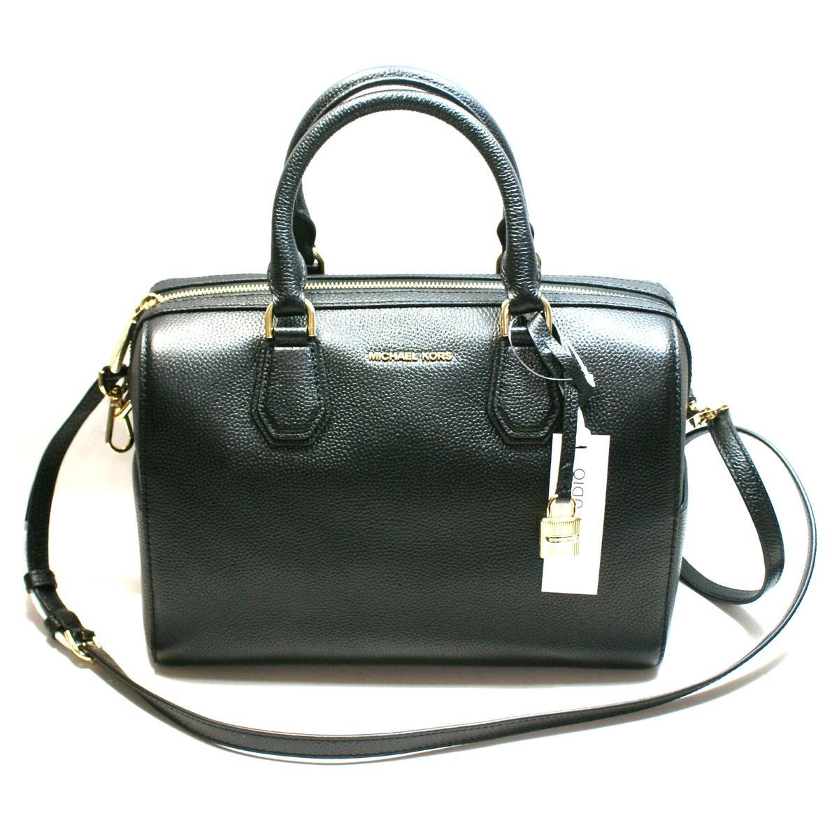 b7e8b5a71126d Home · Michael Kors · Mercer Medium Duffle Leather Black Satchel  Crossbody  Bag. CLICK THUMBNAIL TO ZOOM. Found In  Handbags