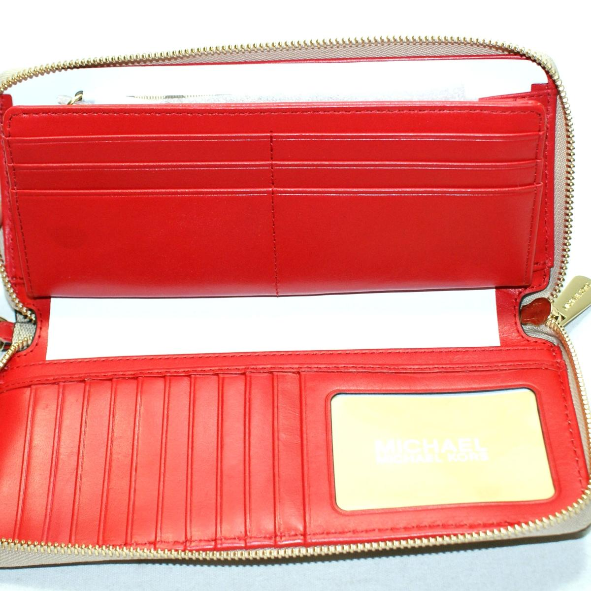 922167efc53585 Home · Michael Kors · Travel Continental Leather Zip Around Wallet Natural/ Bright  Red. CLICK THUMBNAIL TO ZOOM. Found ...