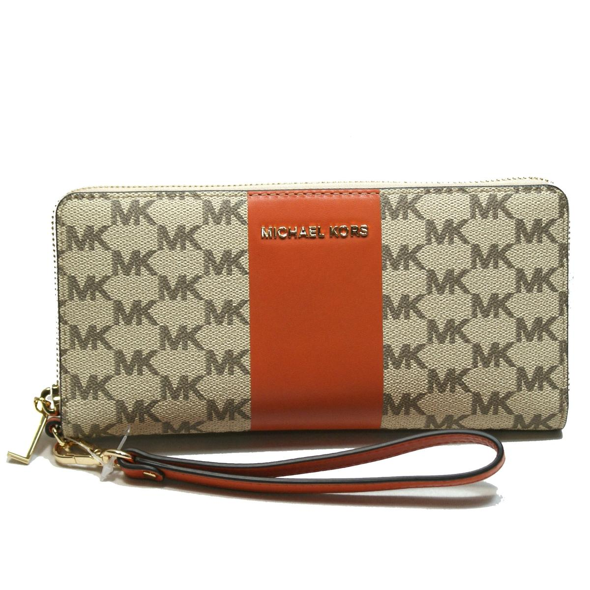 44f38b3b4ae1 Home · Michael Kors · Jet Set Travel Center Stripe Continental Zip Around  Wallet/Wristlet Natural/ Orange. CLICK THUMBNAIL TO ZOOM. Found ...