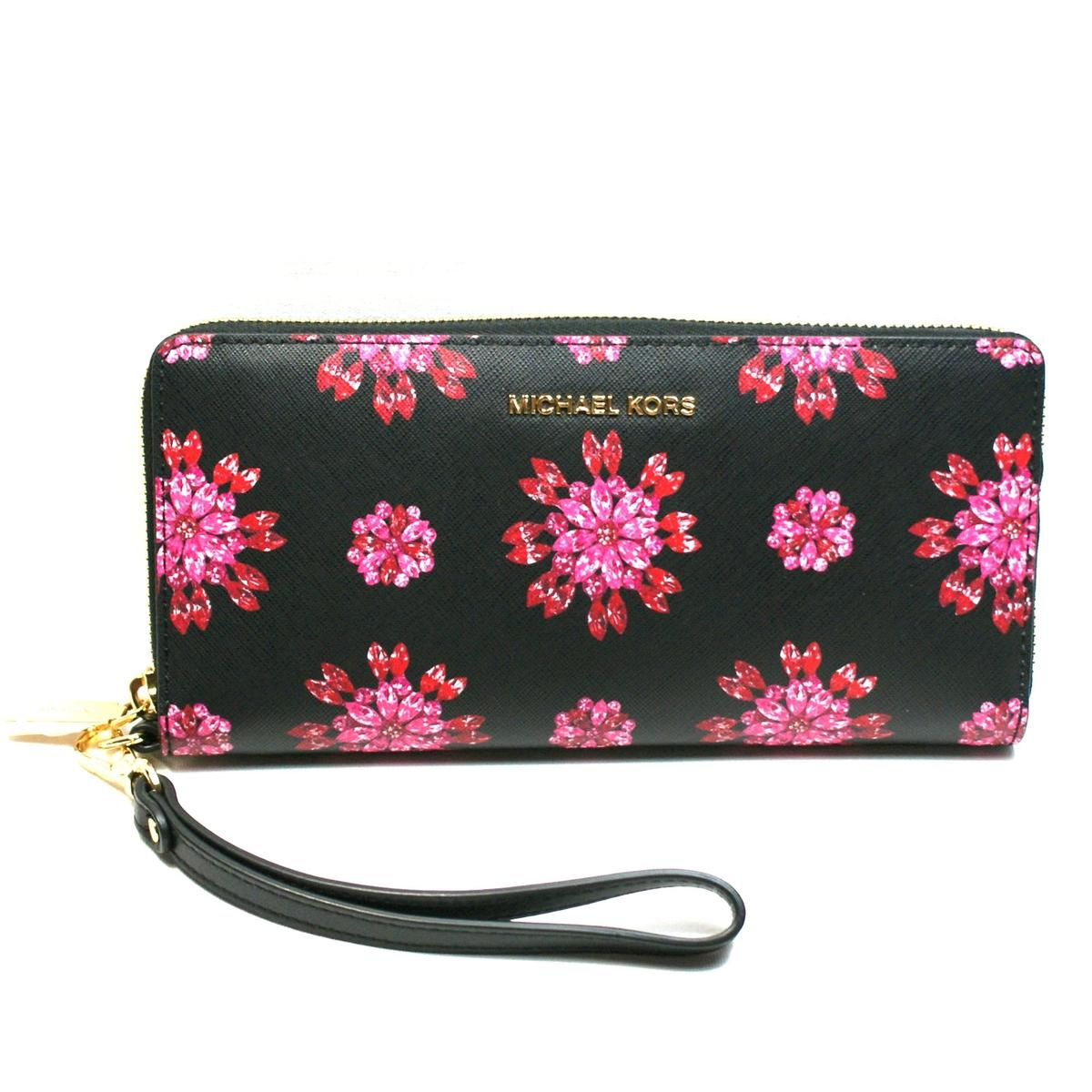 5b75290e38a4 Home · Michael Kors · Jet Set Travel Continental Leather Wallet  Clutch   Wristlet Black  Ultra Pnk. CLICK THUMBNAIL TO ZOOM. Found ...