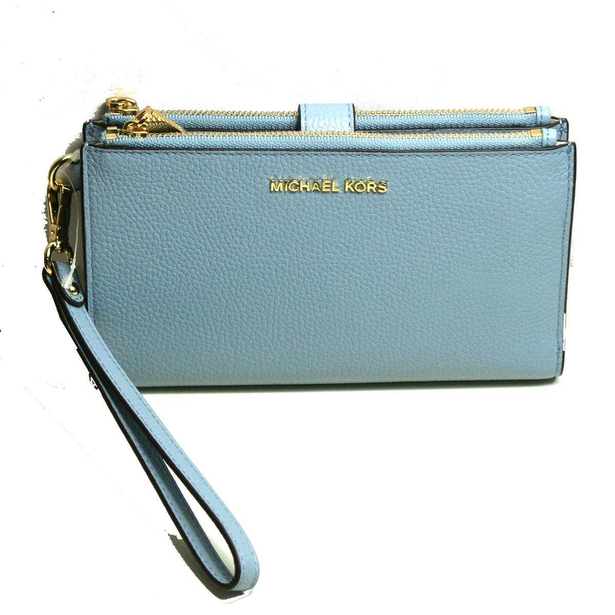 abf50aa8d7355e Home · Michael Kors · Double Zip Leather Clutch/ Wristlet Pale Blue. CLICK  THUMBNAIL TO ZOOM. Found ...
