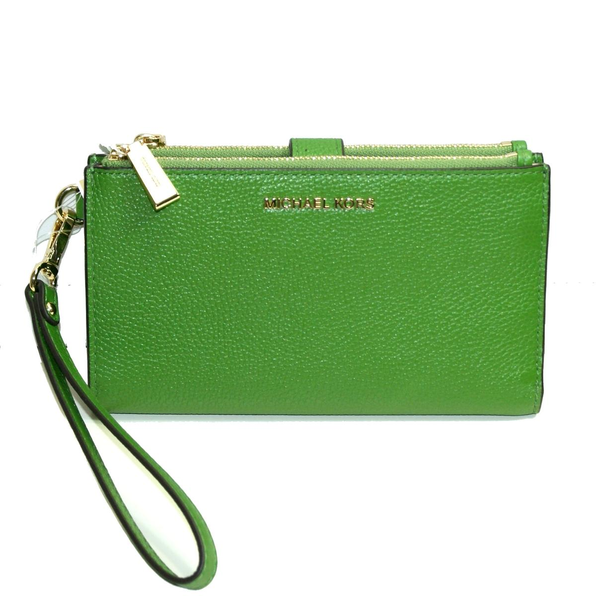 871d8d90b6e923 Home · Michael Kors · Double Zip Leather Clutch/ Wristlet True Green. CLICK  THUMBNAIL TO ZOOM. Found ...