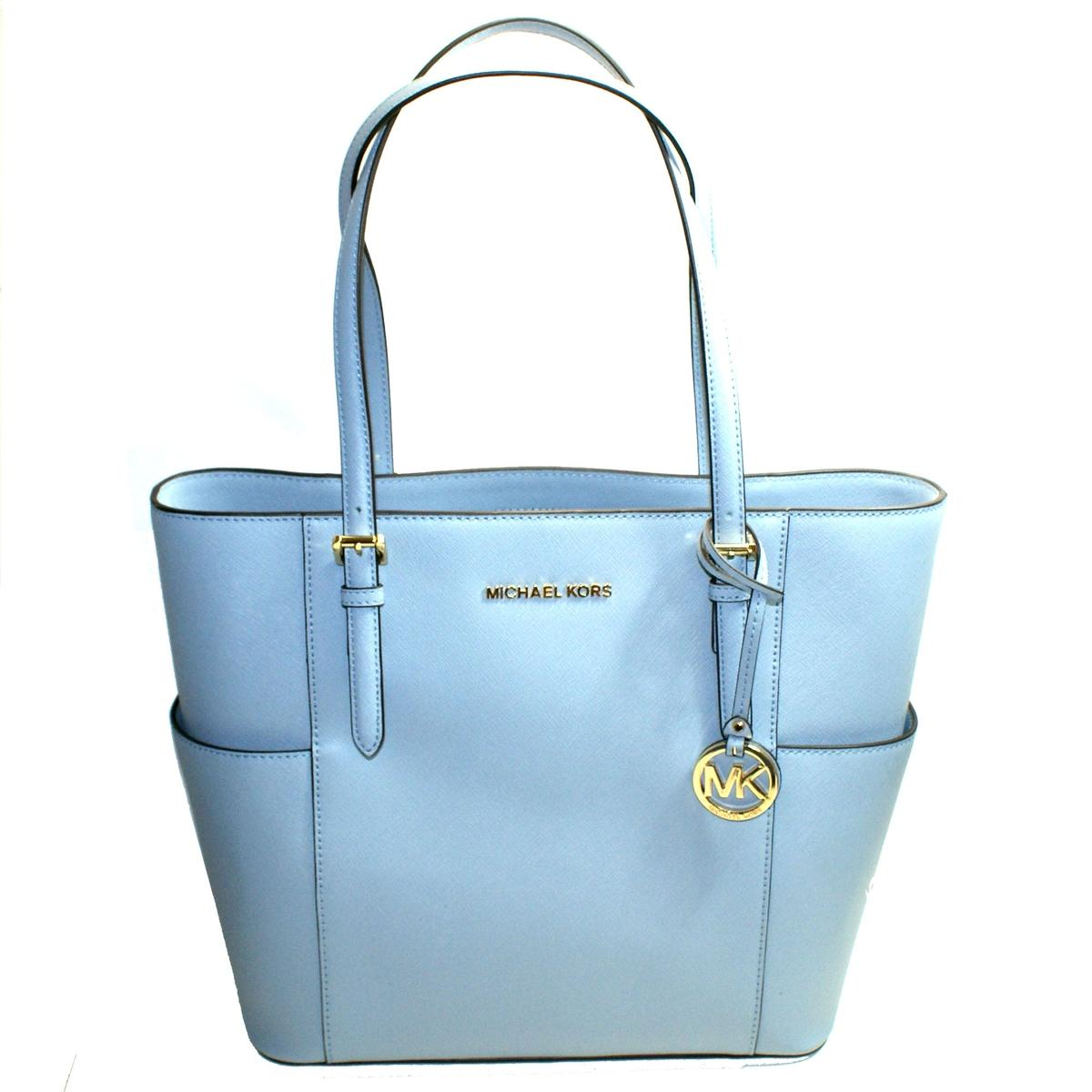 80a57fdc2aedeb Home · Michael Kors · Jet Set Travel Leather Large Tote Bag Pale blue.  CLICK THUMBNAIL TO ZOOM. Found ...