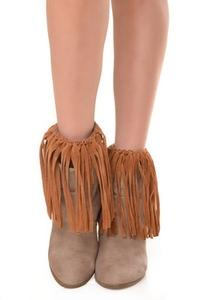 ZwappFaux Suede Fringe Boots Cover Brown
