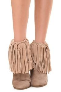 ZwappFaux Suede Fringe Boots Cover Beige