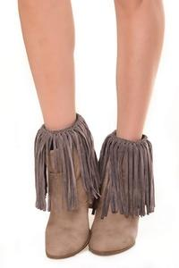 ZwappFaux Suede Fringe Boots Cover Chacoal Grey