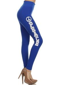 ZwappWomen Royal Blue Love Print Leggings One Size New