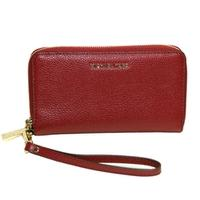 Michael KorsFlat Leather Medium Zip Around Wristlet Maroon