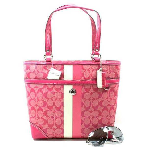 Coach bag tote summer striped pink