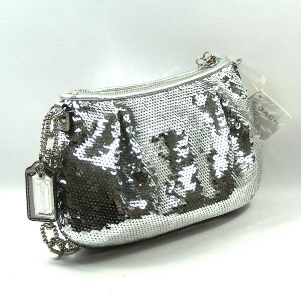 Coach Poppy Occ Silver Sequin Pouch Evening Bag 14368 Coach 14368