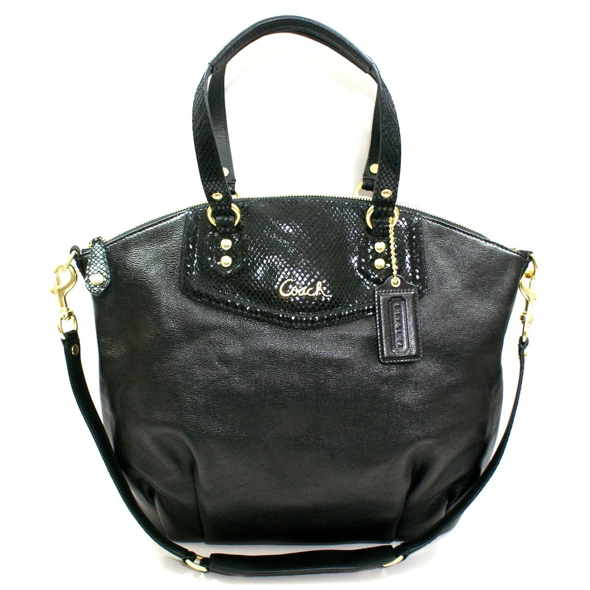 Coach Ashley Leather Satchel Shoulder Bag Black 23684