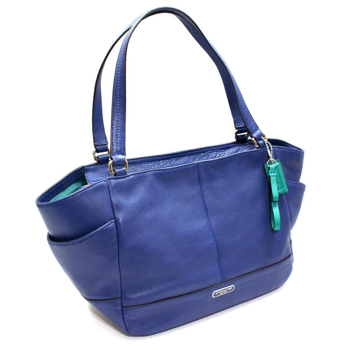 Coach Parker Leather Carrie Tote Shoulder Bag French Blue