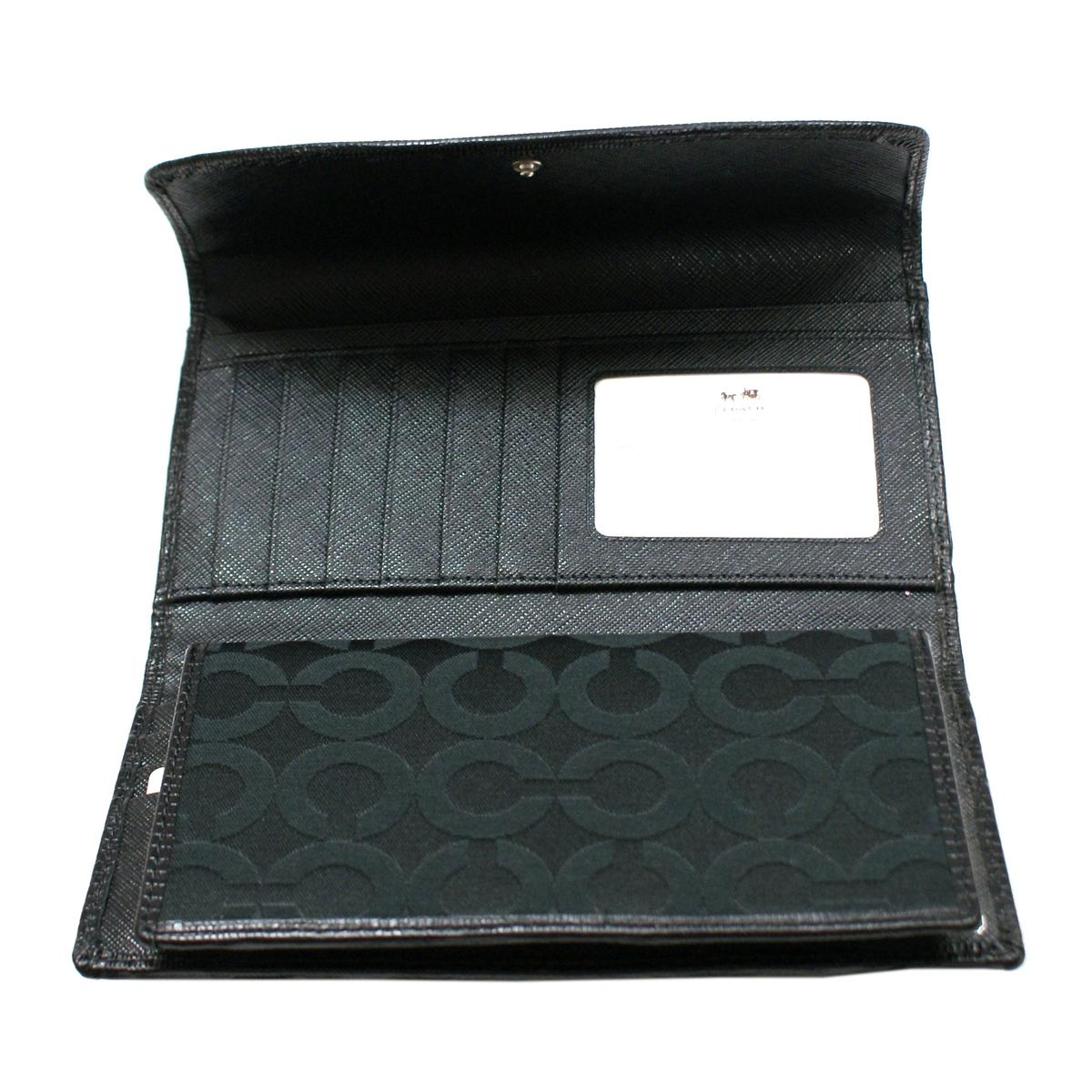 Coach Madison Opt Art Checkbook Wallet Black 46647